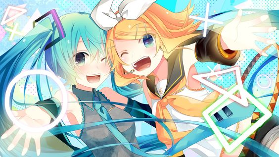 Vocaloid - Miku and Rin art by 手鞠@30日東レ54a (Pixiv)