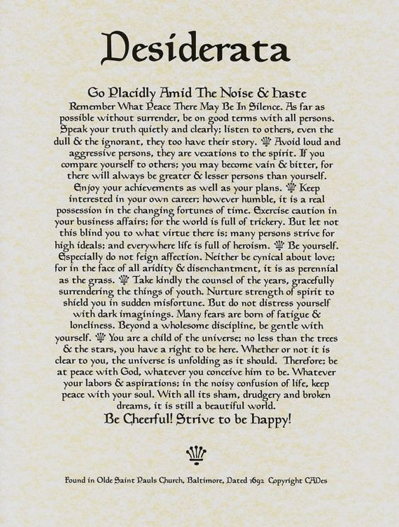 Desiderata Poem 11 X 14 Poster Calligraphy Print on Fine Parchment Paper