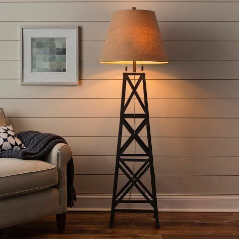 Rustic Farmhouse Windmill Bronze Floor Lamp Affiliate