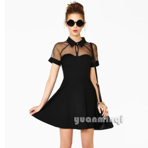 Sexy-Women-Collared-Sheer-Mesh-Cute-Cocktail-Party-Club-Skater-Flared-Mini-Dress