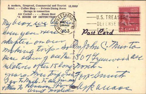 1953 Murfreesboro Tn James K Polk Hotel Rutherford County