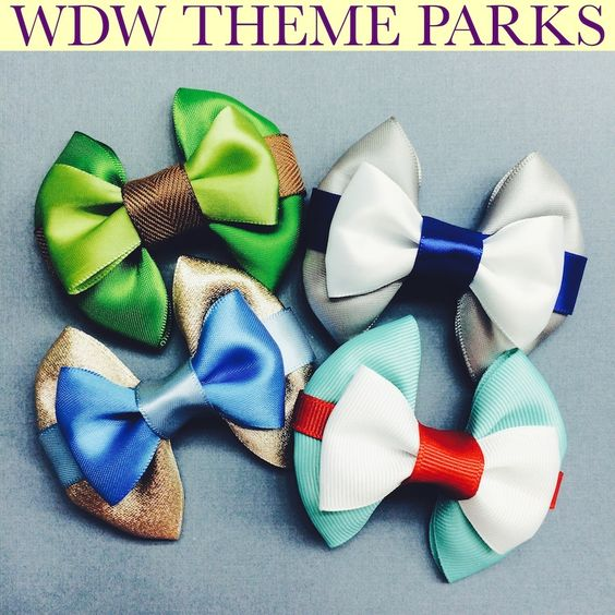 Walt Disney World theme park mini bows! www.ouacharm.com #disney #disneybound #hairbows