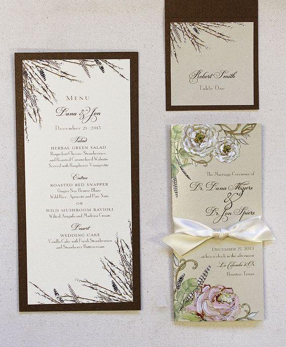 Convites, menu, tags.
