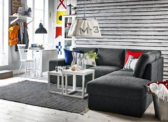 Gotland b ddsoffa med divan i tyg visby grey fr n mio for Divan 2 lampe