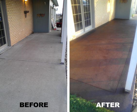 Front porch stained concrete a definate must for my for Remove stain from concrete patio