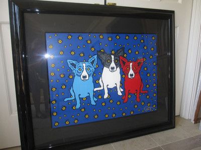 "George Rodrigue Blue Dog Signed ""Oh Say Can You See"" 1993 