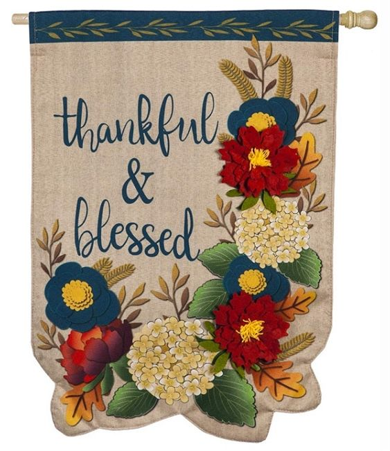 Thankful And Blessed Flag Floral Thanksgiving House Banner In 2020 Thanksgiving House Flag House Flags Thankful And Blessed