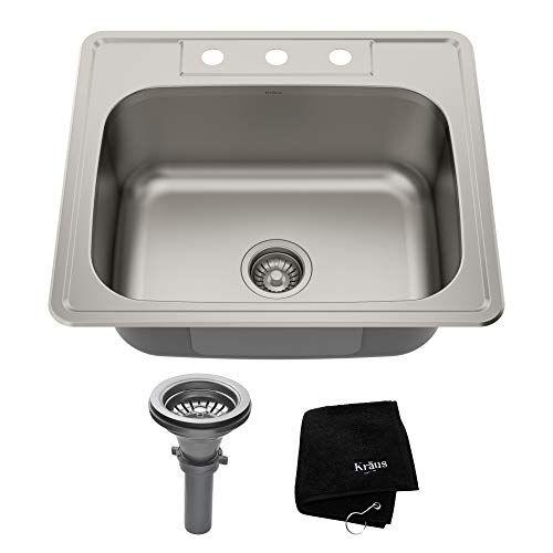 Kraus Ktm25 25 Inch Topmount Single Bowl 18 Gauge Stainle Https Www Amazon Com Dp B005hh0z2o Ref Sink Stainless Steel Kitchen Sink Stainless Steel Kitchen