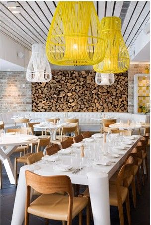 I love the modern white tables with wood chairs, and those chandeliers are so unusual and fun. Ivy Hotel, Uccello Italian restaurant / Sydney