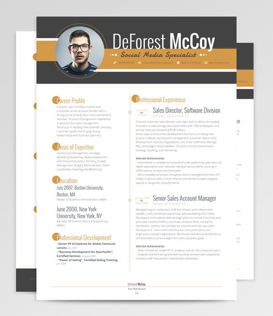 Virgo resume template is all about punctuation. Highlighting key ...