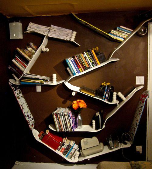 bookshelves made from skateboards- Ohhhh Thomas....