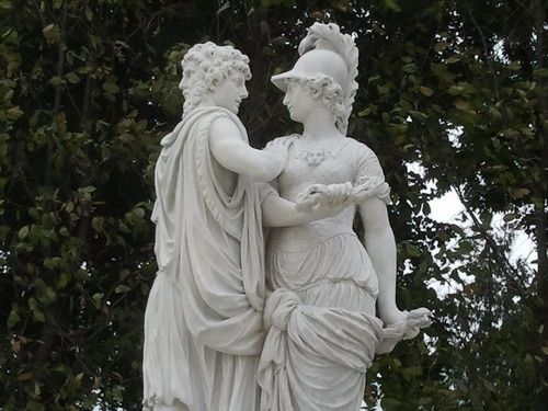 Two marble statues