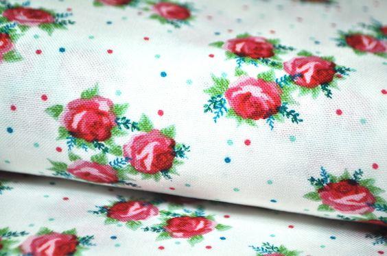 we ♥ ROSEN Baumwolle Stoff ROSE LANDHAUS PATCHWORK von Lala & Fluse auf DaWanda.com