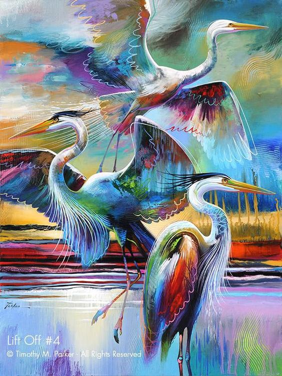 LIFT OFF #4 - Fine Art Print on Textured Paper or Canvas This is a wonderful print that would add to any room whether you are creating a contemporary theme or a modern tropical look. The Great White Egret is a majestic bird to start with and when painted in this semi-abstract style the