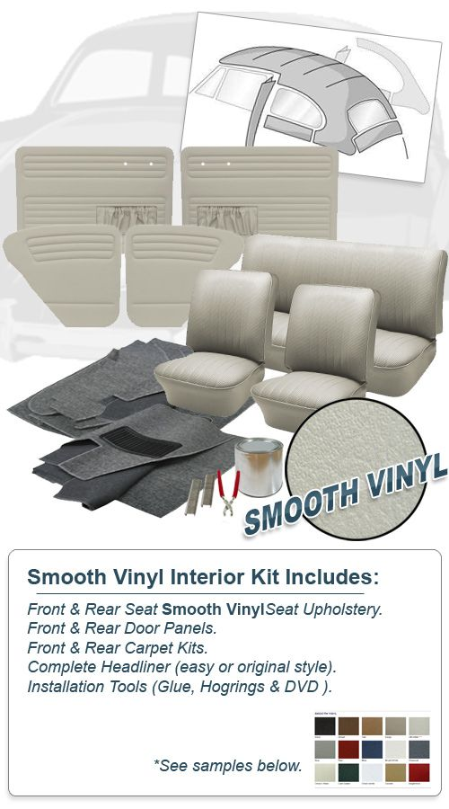 1965 1966 Vw Beetle Sedan Smooth Vinyl Interior Kit Vw Bug Interior Interior Vinyl Doors
