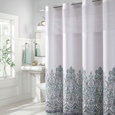 Damask Border Shower Curtain With Liner Blue Hookless Hookless