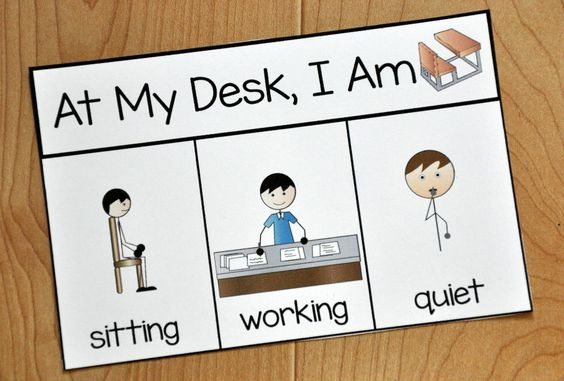 """Free Behavior Supports! This printable behavior support is a visual for students with Autism and other visual learners. This behavior reminder card is ideal for students who have difficulty with appropriate behavior while at their desks. This reminder card, visually reminds students """"When I'm at my desk, I am quiet, working, and sitting."""
