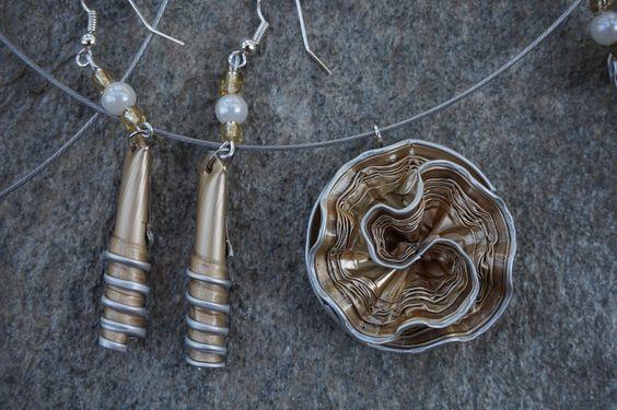 bijoux parure collier boucles d'oreilles capsule café nespresso recyclé OR, doré,marron : Parure par cococreative