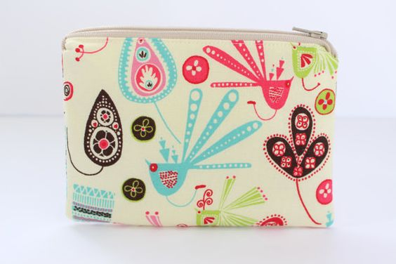 Medium Pouch Coin Purse Cosmetic Bag Makeup by SewAndStitchStudio
