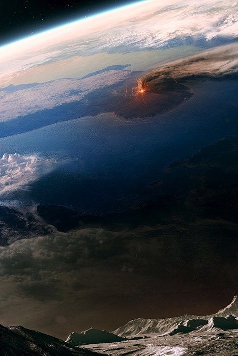 Volcano Erupting -- Seen From Space