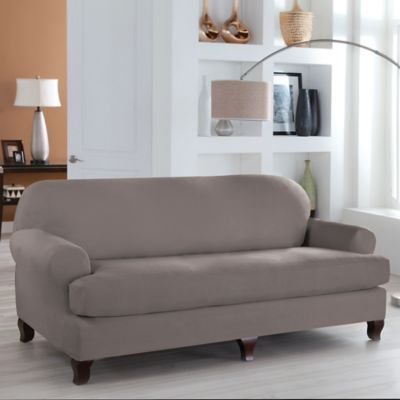 Perfect Fit Stretch Fit Microsuede 2 Piece T Cushion Sofa