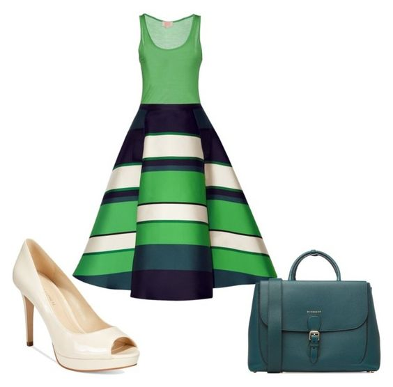 """""""Green, Navy, & Cream"""" by ejsmash ❤ liked on Polyvore featuring Not Shy, Lanvin, Burberry, Marc Fisher, women's clothing, women's fashion, women, female, woman and misses"""