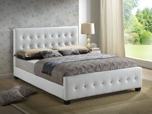 white queen size modern headboard tufted design leather look beds