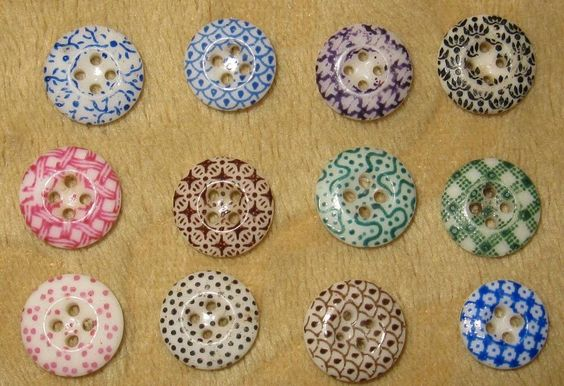 Assortment Lot of 12 Antique Calico Buttons   SOLD $58.99