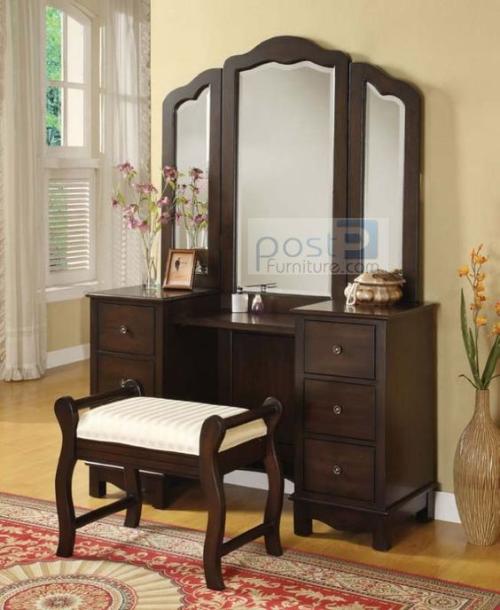 NEW LOUIS PHILLIPE CHERRY FINISH WOOD VANITY TABLE SET W/ TRI MIRROR U0026  BENCH   Vanity Table Set, Wood Vanity And Vanity Tables
