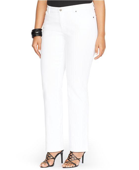 Lauren Ralph Lauren Plus Size Super-Stretch White Wash Straight ...