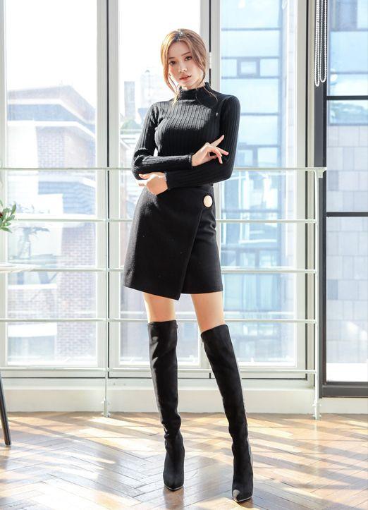 ゴールドムーンボタン キュロットパンツ 韓国の女の子のファッション アジアンファッション ファッションアイデア