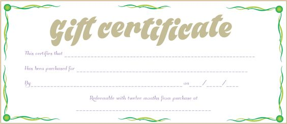 Green Waves Gift Certificate Template Beautiful Printable Gift - cooking certificate template