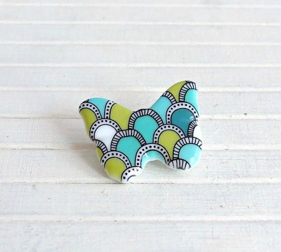 Turquoise and Olive Green Ceramic Butterfly by beadishdelight