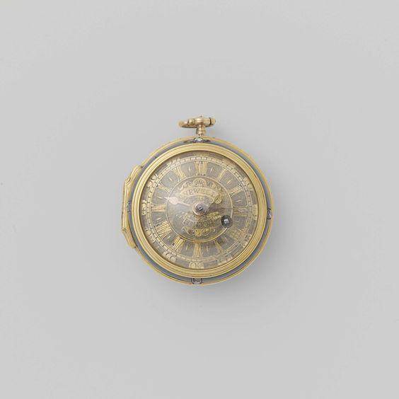 Firma Newell   Horloge, Firma Newell, John Archambo, Anonymous, c. 1720 - c. 1770   Gouden horloge met geciseleerde wijzerplaat. De achterbodem en rand van de voorbodem zijn van bloedjaspis. Met diamanten op de drukknoppen.