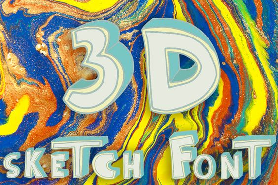 3D style sketch font by Ana Babii on @creativemarket