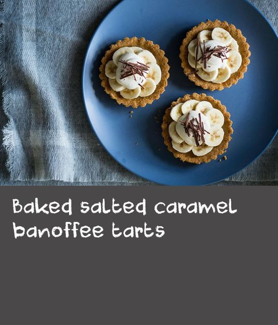Baked salted caramel banoffee tarts | Crisp pretzels and a salted caramel filling takes this classic English dessert to new heights. Serve these banoffee tarts either chilled or at room temperature but never forget the vanilla cream and bitter chocolate shavings.