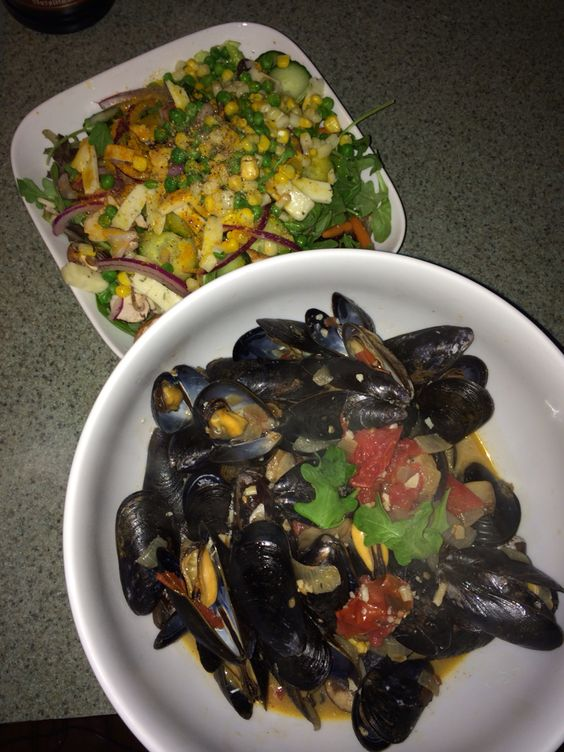 Homemade mussel and salad. It's what's for dinner.