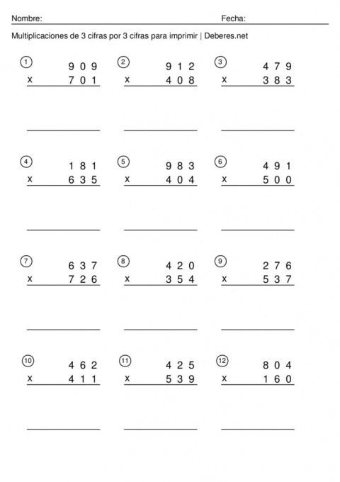 Multiplicaciones De 3 Cifras En Pdf Para Imprimir Fichas Y Ejercicios Multiplicacion Imprimir Sobres Fichas