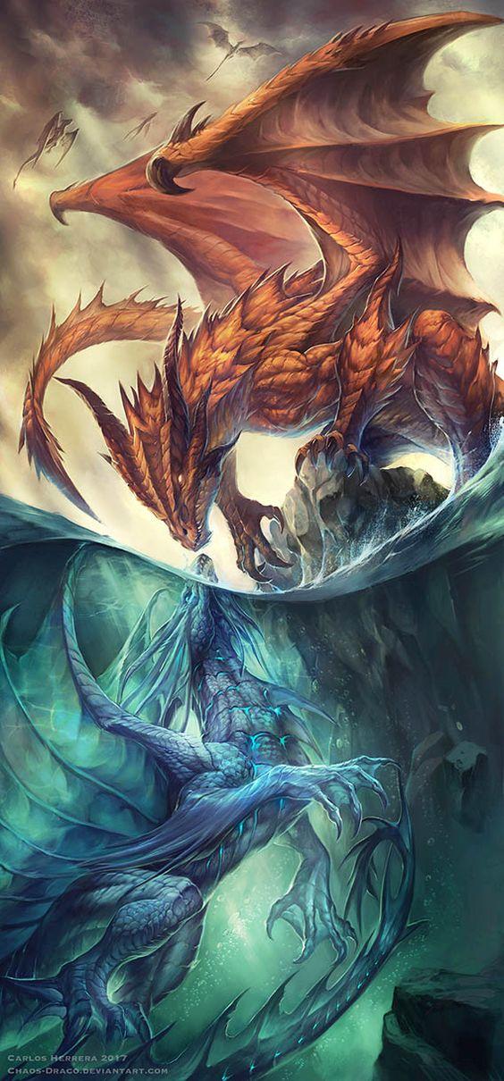 ファイアドラゴンとブルードラゴンの壁紙