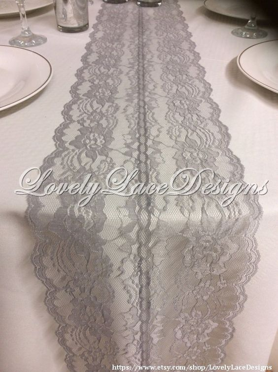 GREY Lace Table Runner, 5ft-10ft x 8in wide/ Lace Table Runner, Lace Overlay, Vintage Lace, Grey  Wedding Decor, Grey Weddings