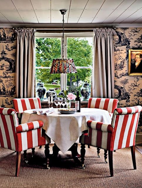 Red and white stripes, toile, fun mix of patterns for dining room!
