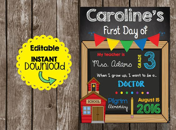 This adorable First Day of School sign is EDITABLE! You get to add all of your…
