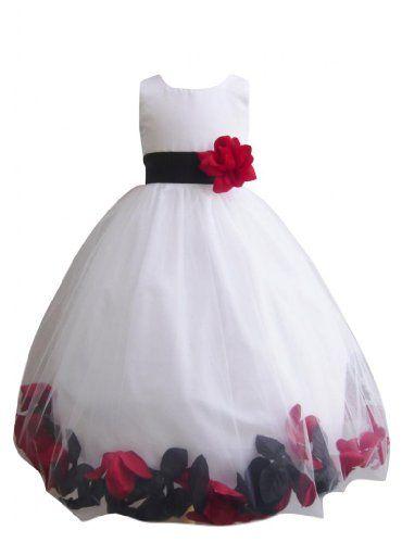 Classykidzshop Mixed Black Red White Petal Dress (Black Sash with ...