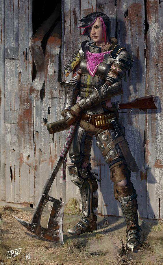 ArtStation - Axe Girl, Eric Martin - I think on certain worlds in the future people will be struggling to survive and might cobble together armour and weapons like this.
