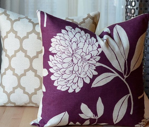 Pillow set, Floral pillows and Purple throw pillows on Pinterest