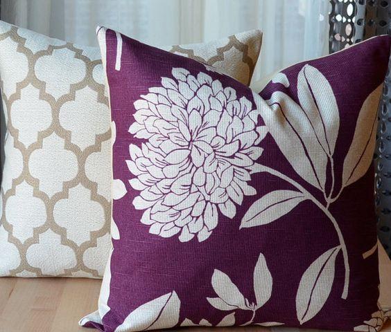 Purple Floral Decorative Pillows : Pillow set, Floral pillows and Purple throw pillows on Pinterest