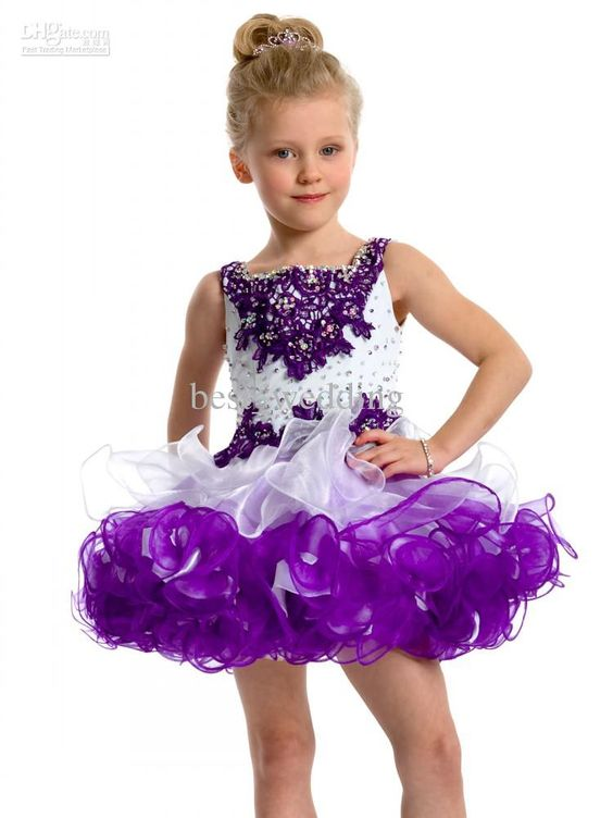 Gorgeous white and purple bead cute flower girl dress toddler ...