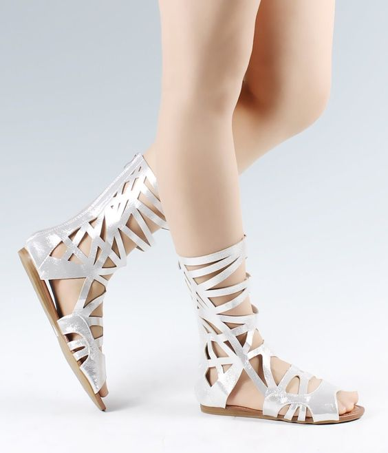 Silver .. Gladiators Knee High Zip Open Strappy Womens Sandals Shoes Size 6.5