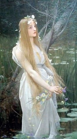 Ophelia in a white dress and adorned with flowers