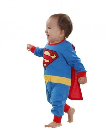 Baby-Kostüm SUPERMAN Strampler - Blau/Rot – Bild 1
